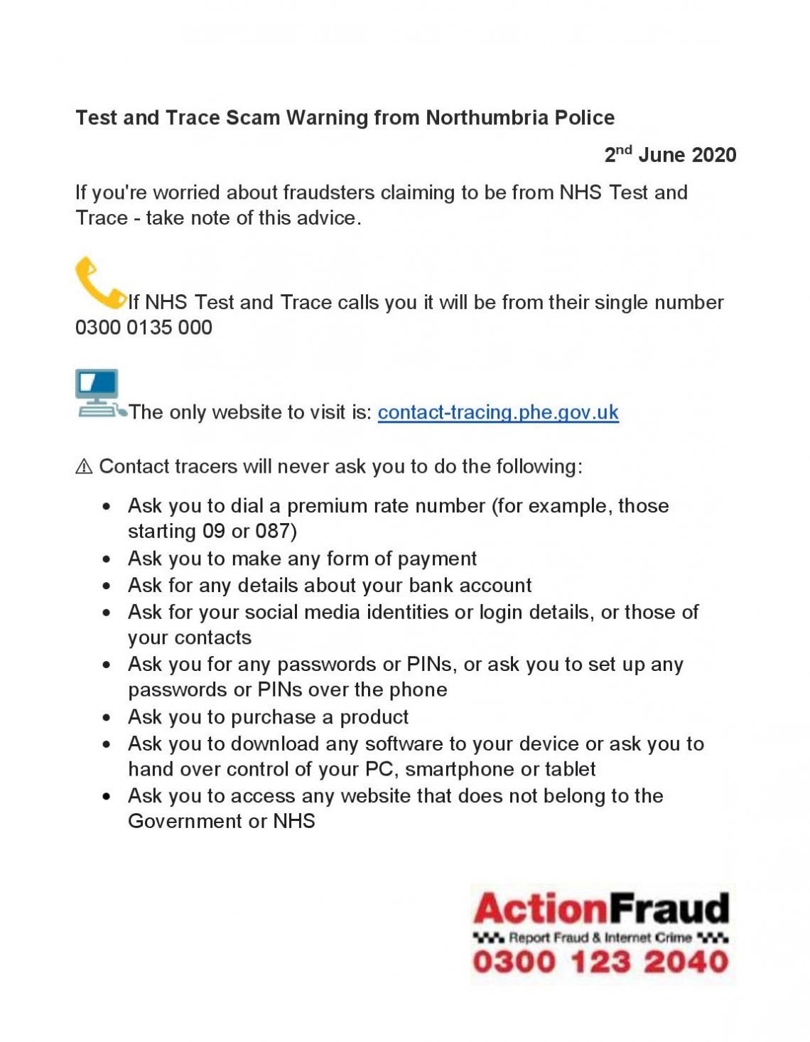 Advice Scams Related To The Nhs Test And Trace Service What To Look Out For Prudhoe Town Council